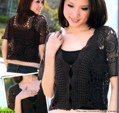 Crochetemoda: Casaqueto Preto de Crochet Free pattern included!