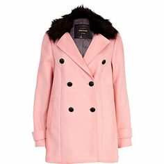 Make your winter coat a statement whilst staying on trend in this light pink double breasted coat. #riverisland