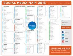 Social Media Map 2013 by Emily Attwood #smm #socialmedia