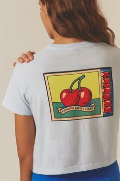 Ripe for the picking our Fiorucci Cherries Crop Tee. A boyfriend fit cropped T-shirt with a cherry print on the chest and across the back.