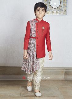Indo western dress designs for Boys Baby Boy Ethnic Wear, Mens Ethnic Wear, Ethnic Wear For Boys, Kids Indian Wear, Indian Groom Wear, Indian Boy, Indian Men Fashion, Mens Fashion Wear, Fashion Shirts