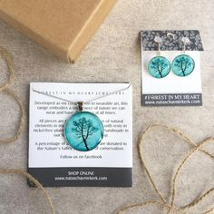 Pendant and Earrings Gift Box - Shadow Tree, Turquoise Shadow Tree, Heart Jewelry, Wearable Art, My Heart, Turquoise Necklace, Range, Pendant, Box, Earrings