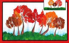 Autumn Leaf print Trees by Easy Peasy Art School. Online step by step primary and elementary art lesson inspired by Autumn