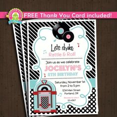 Sock Hop Invitation / Sock Hop Birthday / Sock Hop Party / 50's Birthday Invitation / Fabulous 50's / 50s Diner Invitation by ForeverYourPrints on Etsy https://www.etsy.com/listing/242224748/sock-hop-invitation-sock-hop-birthday