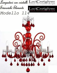 114 Six #lights #chandeliers in red and #transparent #Murano #glass with #Swarovski #crystals