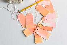 Gift Tags Watercolor Pink/Amber