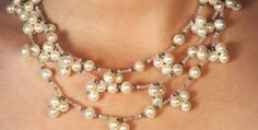 Three strand pearl necklace N238