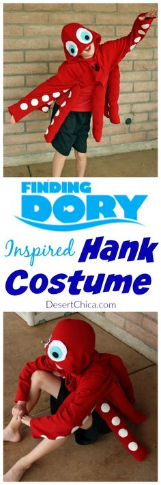 If you have a teenagers in your house and hosting a Finding Dory Party... Entertain your guest by having the kids dress up in this cute Hank the Septapus /Octopus Finding Dory Costume is an easy DIY Party or Halloween costume: an easy Octopus costume idea using a sweatshirt, felt and duct tape. Duct Tape costume |Sweatshirt costume | Ocean costume