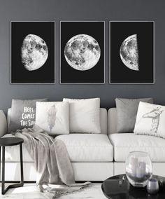 Printable wall art Moon phase print set 3 Black and white art Moon prints Moon poster Moon wall art Wall Art Sets, Large Wall Art, Wall Art Prints, Watercolor Moon, Black And White Wall Art, Moon Print, Home Decor Trends, Decor Ideas, 3 Moon