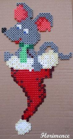 Christmas Mouse hama perler beads by Florimence