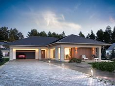 Parterowy dom jednorodzinny, niepodpiwniczony z dwustanowiskowym garażem. Jest to wygodny , funkcjonalny dom, który swoim pełnym programem zapewnia optymalny komfort 4-osobowej rodzinie. Przestronna część dzienna to salon połączony z jadalnią, otwierający się na ogród poprzez ogromne przeszklenie oraz otwarta kuchnia wraz z półwyspem i ze spiżarnią. Tak zaproponowany, ciekawy i przestronny układ pomieszczeń umożliwia szereg aranżacji.