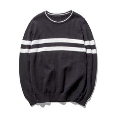 Mens Comfortable Double Stripe Sweater