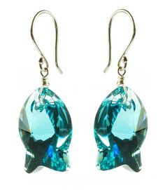 Sterling Silver Swarovski Elements Indicolite Colored Fish Earrings