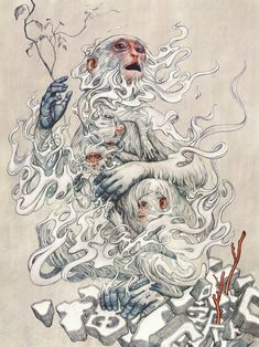 """supersonicart: """"James Jean, """"Year of the Monkey"""" Print Release.James Jean will be releasing a print next Tuesday, January 2016 entitled """"Year of the Monkey"""" for only one hour starting at Japan Illustration, Illustration Singe, Digital Illustration, Creative Illustration, Rauch Tattoo, Three Wise Monkeys, Monkey Tattoos, Monkey Art, Monkey King"""