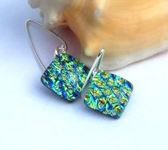 Dichroic Glass Drop Earrings  Fused Glass Jewelry by TremoughGlass