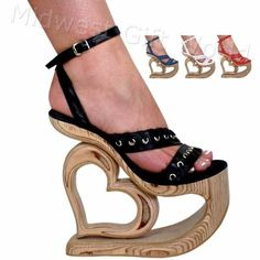 "7 1/2"" LEATHER EYELET SANDALS w/NATURAL WOOD HEART PLATFORM SHOES - Sz 4-14 #PlatformsWedges"