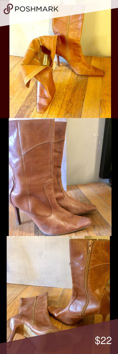 "Steve Madden ""Vanityy"" Leather Boots Vintage Steve Madden boots w soft leather & zip up back, suede-like material inside, good condition, with some scuffing & discoloration as seen in 2nd photo. Chic & always fashionable, these are a style staple that eas"
