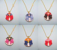 Sailor Moon Inner Sailor Senshi polymer clay necklaces by RoboticCookie, £8.00