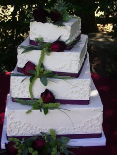 Purple Ribbon on Wedding Cake