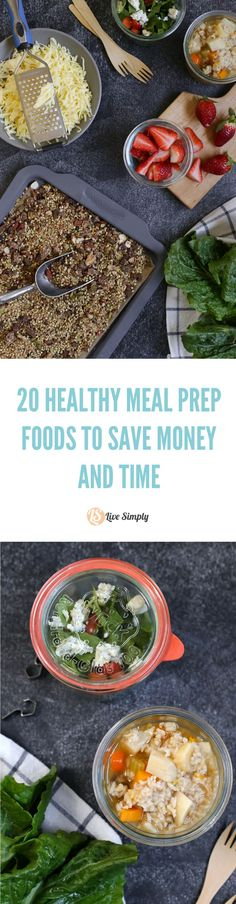 Make healthy eating an easy task with this list of over 20 foods you can make NOW to save money and time LATER! So many great ideas for prepping real healthy food without the fuss later in the week. Plus, a free PRINTABLE CHART.
