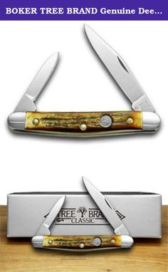 BOKER TREE BRAND Genuine Deer Stag Pen Pocket Knife Knives. Beautiful BOKER TREE BRAND Genuine Deer Stag Pen Handcrafted in Solingen, Germany BO11828-HH This handsome new knife has never been used or re-sharpened, and comes with a Limited Lifetime Manufacturer's Warranty. It is 2 3/4 inches long(folded/closed) and weighs approximately 1.0 ounces. The blades are Solingen 4034 Stainless Steel. Solingen Steel is regarded as the Highest Quality Knife Steel in the World. The handle is Genuine...