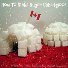 sugar cube igloos are a fun and interactive Canadian craft for teaching kids about the history of the Inuit people. They also make wonderfully unique Canadian party decorations! Winter Crafts For Kids, Winter Fun, Winter Theme, Christmas Gingerbread House, Noel Christmas, Gingerbread Village, Canadian Party, Canadian Winter, Canadian Food