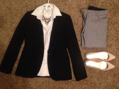 Fall Work: Banana Republic black blazer and white button up, Express houndstooth pants, pink necklace, and pink flats