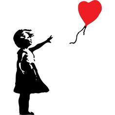 Banksy Inspired Balloon Girl by wallstickz Street Art Banksy, Banksy Graffiti, Bansky, Alzheimers Tattoo, Banksy Stencil, Its A Girl Balloons, Silhouette Art, Vinyl Wall Decals, Silhouettes
