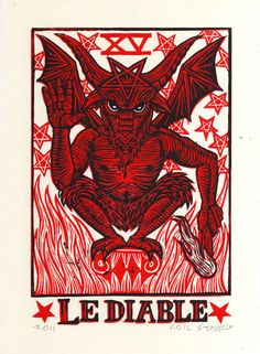 Devil Tarot Linocut Art Print by HorseAndHare on Etsy