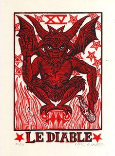 Devil Tarot Linocut Art Print by HorseAndHare on Etsy