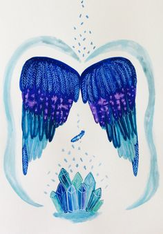 Archangel Michael wings  watercolor painting by SusanaTavaresShop