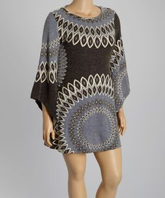 Look what I found on #zulily! Black & Gray Circle Sweater Dress - Plus #zulilyfinds