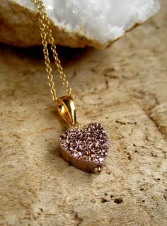 Druzy Necklace Rose Gold Drusy Quartz Heart by julianneblumlo, $64.00
