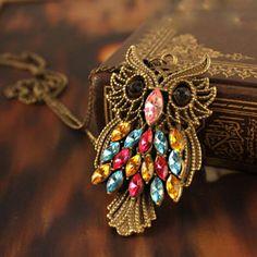 Vintage Retro Owl Pendant Necklace
