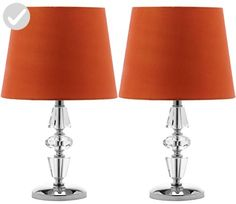 Safavieh Lighting Collection Crescendo Clear and Orange Tiered Crystal 15-inch Table Lamp (Set of 2) - Improve your home (*Amazon Partner-Link)