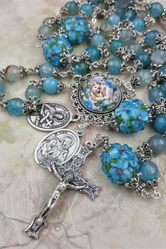 St Anne St Gerard Handcrafted Rosary Blue Agate Floral Lampwork for Motherhood ,Healthy Pregnancy/ Childbirth