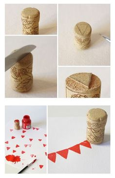DIY Stamps with Wine Cork. Could be a cool touch for wedding invitations! Cork Crafts, Fun Crafts, Arts And Crafts, Paper Crafts, Wooden Crafts, Ideias Diy, Form Design, Stamp Making, Diy Invitations