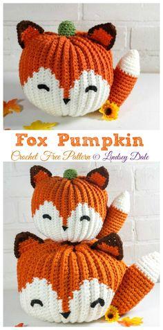 Fox Pumpkin Crochet Free Pattern Crochet Fall, Cute Crochet, Crochet Crafts, Crochet Toys, Knit Crochet, Diy Crochet Projects, Crochet Stitches Free, Crochet Blanket Patterns, Amigurumi Patterns