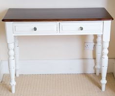 shabby chic desk, white paint with wood top, 2 drawers