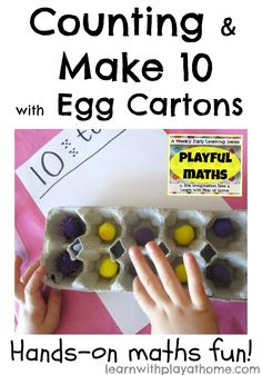 Counting & Make 10 with Egg Cartons.  Playful Maths from Learn with Play at home