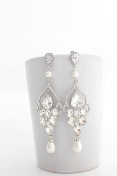 diamond and pearl chandelier bridal statement earrings - bridal accessories, bridal jewelry