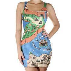 Vestido com estampa inspirada em Super Mario