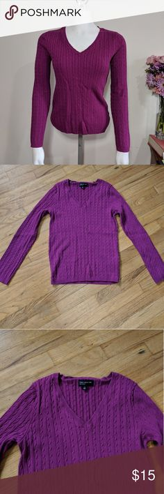 Magenta Midweight Cable Knit V-Neck Sweater Small Great sweater with a great shape. Just not my go-to color.  Now through April 7th get 2 sweaters for $20! Jones New York Sweaters V-Necks