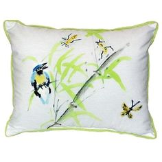 Pair of Betsy Drake Birds & Bees II Large Indoor/Outdoor Pillows 16 In. X 20 In., Multi