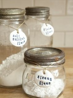 Mason Jar (or other glass container) Storage with stamped labels   LFF Designs   www.facebook.com/LFFdesigns