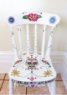 Day of the Dead Style Hand Painted Chair by MissJHW on Etsy, I love the colors and design, except for the skull. Just not into Day of the Dead themed anything. Hand Painted Chairs, Funky Painted Furniture, Upcycled Furniture, Cool Furniture, Painted Tables, Decoupage Furniture, Wooden Furniture, Furniture Design, Furniture Makeover