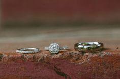 halo engagement ring + skinny band