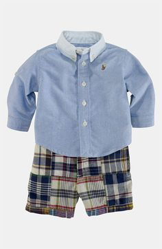 For Arthur's 6 month pictures Ralph Lauren Shirt Shorts (Baby) available at Toddler Boy Fashion, Little Boy Fashion, Toddler Outfits, Baby Boy Outfits, Kids Outfits, Kids Fashion, Little Man Style, Boys Style, Little Boy Photography