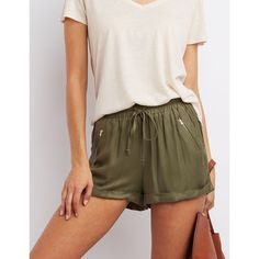 Charlotte Russe Cuffed Drawstring Shorts ($19) ❤ liked on Polyvore featuring shorts, olive, army green shorts, olive green shorts, embellished shorts, drawstring shorts and lightweight shorts