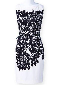 Black White Sleeveless Asymmetrical Floral Dress